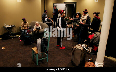 Iowa, USA. 17th Feb, 2016. Backstage of opening night at the Daytrotter Downs music festival in downtown Davenport, - Stock Photo