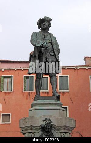 Carlo Goldoni statue, Campo San Bartolomeo, San Marco, Venice, Veneto, Italy, Adriatic Sea, Europe - Stock Photo