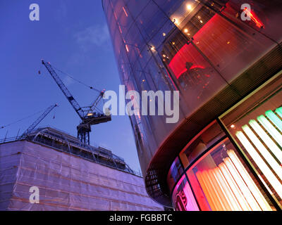 M&M's World Swiss Court iconic modern building and major building construction 2016 nearby Leicester Square London - Stock Photo