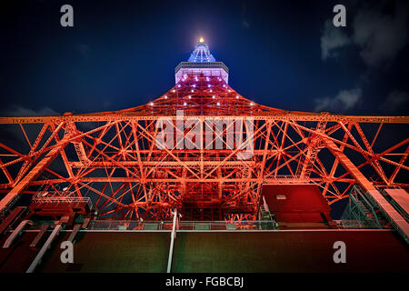 Low Angle View Of Illuminated Tokyo Tower Against Sky - Stock Photo