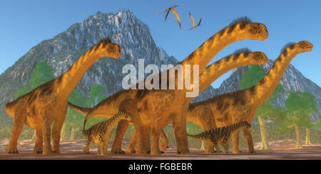 A Camarasaurus sauropod dinosaur herd keep watch on their offspring as two Rhamphorhynchus reptiles fly over. - Stock Photo