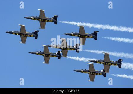 Aero L-39 Albatross aircraft of the Breitling Jet Team - Stock Photo