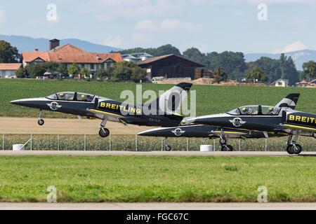 Aero L-39 Albatross trainer aircraft of the Breitling Jet Team - Stock Photo