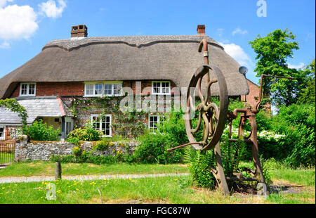 Old village pump on the village green with a thatched cottage in the background in the village of Martin , Hampshire, - Stock Photo