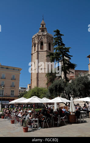 The Bell Tower, Micalet and Catedral de València, Place de la Reina in Valencia, Spain. - Stock Photo
