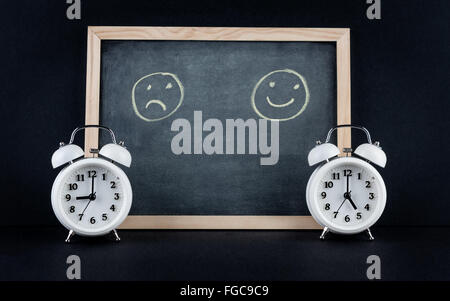 Two vintage alarm clocks showing 9 and 5 o'clock with happy and sad smileys on chalkboard on black background. Nine to five corp