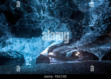 Ice cave under the Vatnajökull, Southern Region, Iceland - Stock Photo