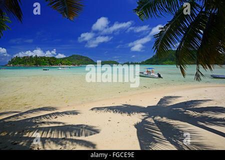 Idyllic bay at Port Launay, Mahe Island, Indian Ocean, Seychelles - Stock Photo