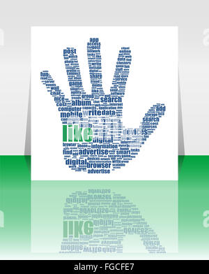 Illustration of the hand symbol, which is composed of text keywords on social media themes - Stock Photo