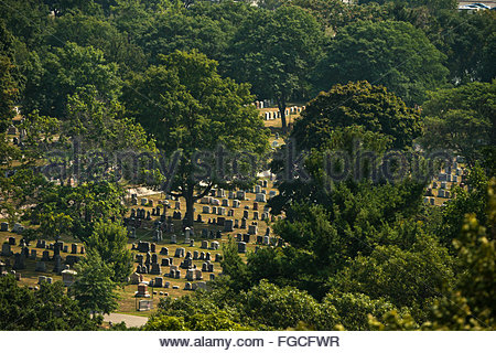 Mount Auburn Cemetery in Boston, Massachusetts. - Stock Photo
