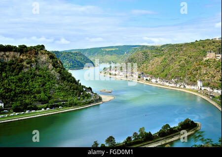 View to the Rhine at Sankt Goarshausen, near Lorelei,  Upper Middle Rhine Valley, Germany - Stock Photo