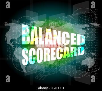 words balanced scorecard on digital screen, business concept - Stock Photo