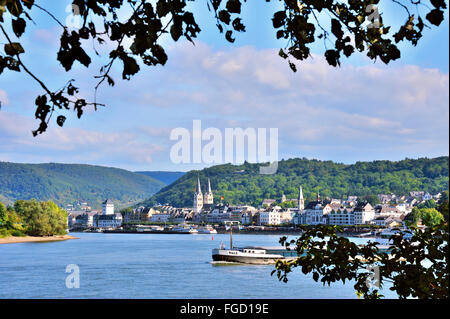 Romantic panorama view of river Rhine with the town Boppard at evening, Upper Middle Rhine Valley, Germany