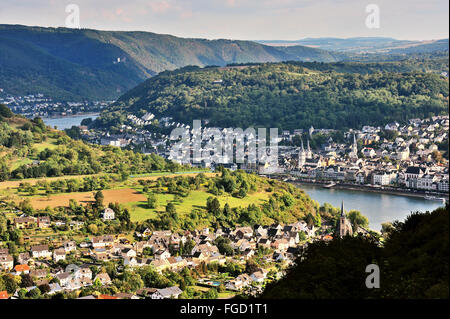 The curvature of the river Rhine, panoramic view of the Gorge near town Boppard, Upper Middle Rhine Valley, Germany