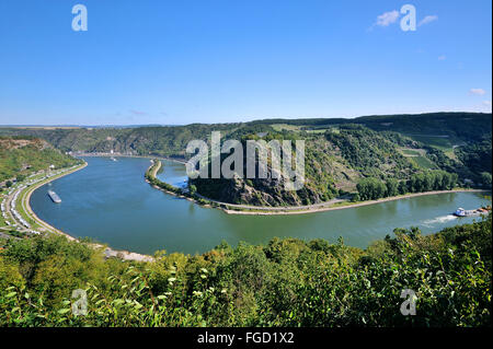 Curvation of the Rhine at the rocks of Lorelei, panorama sight from Lorelei View, Upper Middle Rhine Valley, Germany - Stock Photo