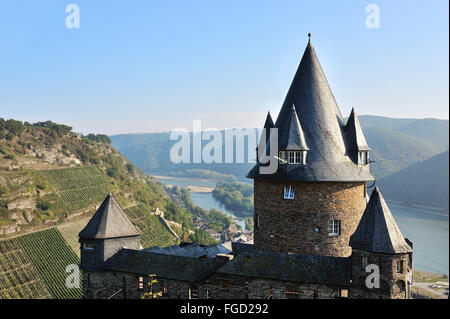 Stahleck Castle above Bacharach with the view to the Rhine, Upper Middle Rhine Valley, Germany - Stock Photo