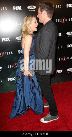 Celebrities attend THE X-FILES Premiere Event at California Science Center.  Featuring: Gillian Anderson, David - Stock Photo