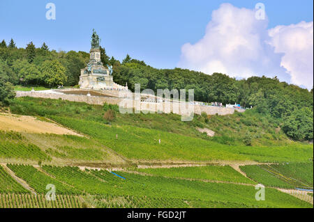 The Niederwalddenkmal above the vineyards of Ruedesheim, with the heroic statue of Germania, Upper Middle Rhine - Stock Photo