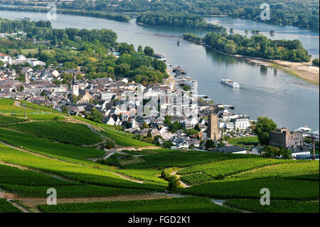 Rüdesheim am Rhein and vineyards, Upper Middle Rhine Valley, Germany - Stock Photo