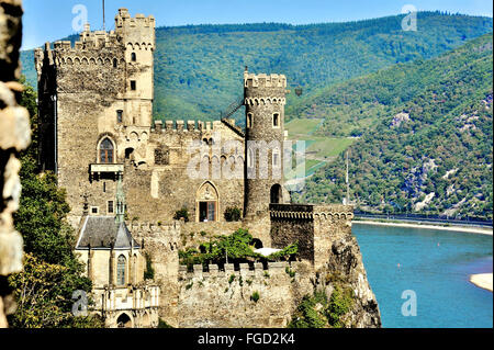Close view of Rheinstein Castle above the Rhine, Upper Middle Rhine Valley, Germany - Stock Photo