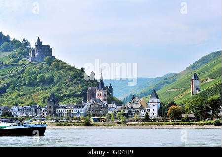 Town Bacharach in the Middle Rhine Valley and Stahleck Castle, Upper Middle Rhine Valley, Germany - Stock Photo