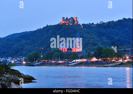 Illuminated town Oberwesel and Schönburg Castle at the festival of Rhein in Flammen, Upper Middle Rhine Valley, - Stock Photo