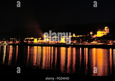 Illuminated town Oberwesel at Rhine bank for the festival of Rhine in Flammen and light reflection, Upper Middle - Stock Photo