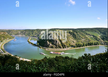 The loop of the river Rhine around the rock of Lorelei, Lorelei view, Upper Middle Rhine Valley, Germany - Stock Photo