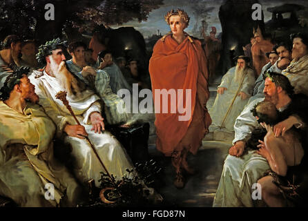 Caesar just deal with the Druids ( Campaigns Gallic ) 1867 Hippolyte Debon 1807-1872 France French ( Gaius Julius - Stock Photo