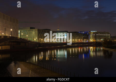 At the Spree river in Berlin early morning - Stock Photo