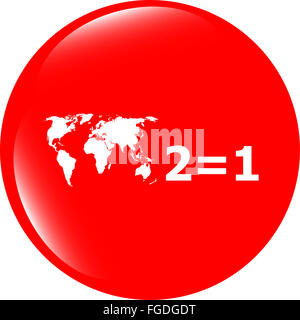 Two for one sign icon. Take two pay for one sale button. 2 equals 1 - Stock Photo