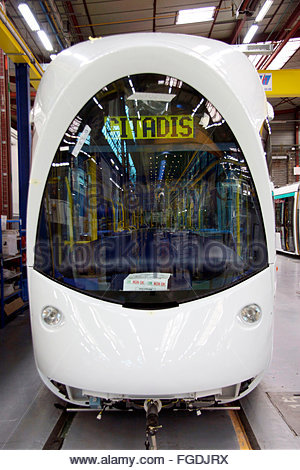 The front of a tram, Alstom factory, La Rochelle, Charente Maritime, France - Stock Photo