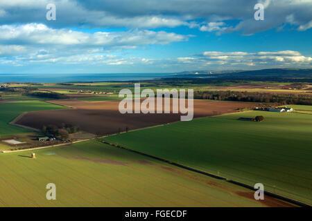 The East Lothian Coastline from North Berwick Law, East Lothian - Stock Photo