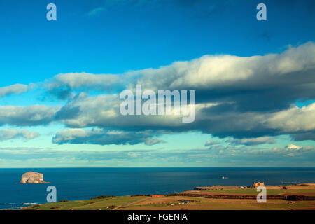 Bass Rock and Tantallon Castle from North Berwick Law, East Lothian Coastline - Stock Photo