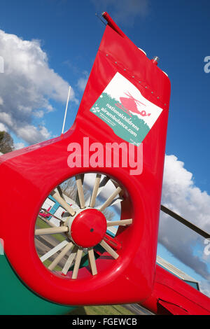 Wales Air Ambulance EC 135 helicopter tail rotor and logo - Stock Photo