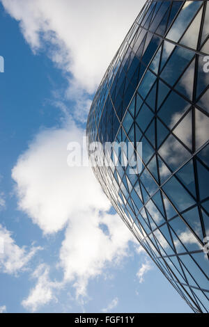 Clouds reflected in the Gherkin, Financial District London England UK - Stock Photo