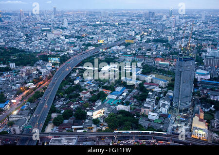 Panoramic views and landcape of Bangkok from Sirocco rooftop. Thailand. Asia, Bangkok, capital, Centara Grand, Chao - Stock Photo