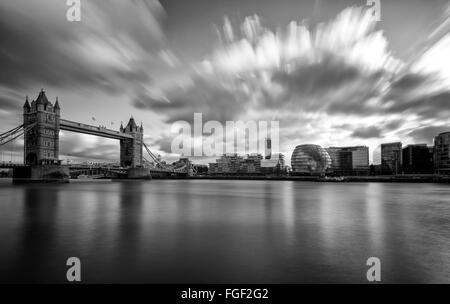 Long exposure at Tower Bridge and the South Bank, London England UK - Stock Photo