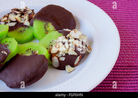 Chocolate Covered Kiwis on a plate. - Stock Photo