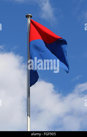 Flag of the State and Republic of Canton Ticino, Switzerland, flapping in the wind against blue skies and white - Stock Photo