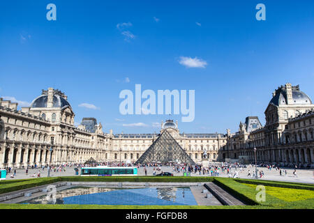 elevated view Louvre Museum, Paris - Stock Photo