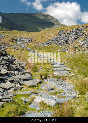 The Watkin path up to the summit of mount Snowdon using a man made path to reduce erosion with the top in view.