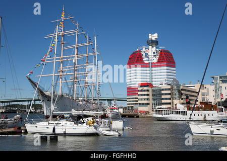 Barken Viking ship and the Göteborgs-Utkiken building (The Lipstick), Gothenburg, West Gothland, Sweden, Scandinavia, - Stock Photo