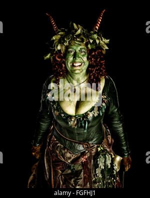 Costumed participant at the Hastings Traditional Jack in the Green Festival. East Sussex. England. UK - Stock Photo
