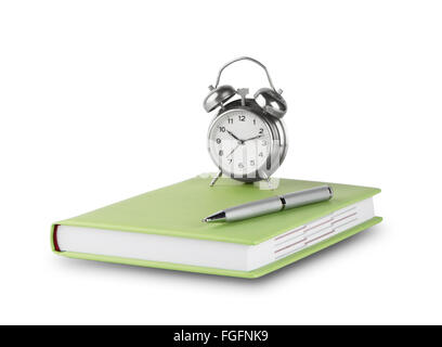 Diary with pen and alarm clock isolated on white background - Stock Photo
