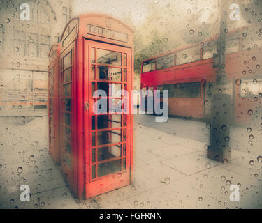 Rainy vintage texture on street scene in London with Red phone booth and doubledecker bus - Stock Photo