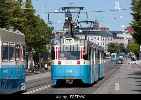 Trams on Kungsportsavenyen, Gothenburg, West Gothland, Sweden, Scandinavia, Europe - Stock Photo