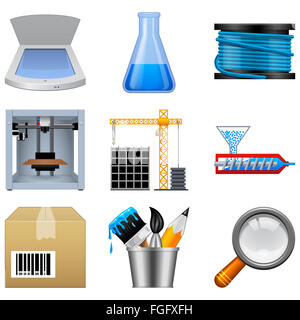 Additive manufacturing icons - Stock Photo
