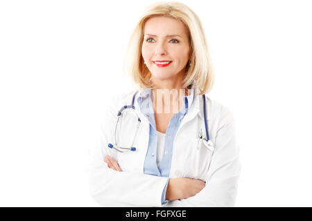 Portrait of smiling female doctor close-up with arms crossed. Isolated on white background. - Stock Photo
