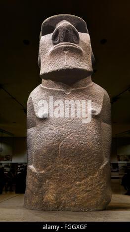 Hoa Hakananai'a, a moai or Easter Island Statue, Wellcome Trust Gallery, British Museum, Bloomsbury, London, England, - Stock Photo